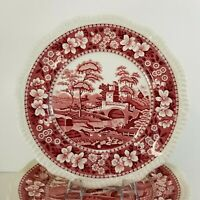 Vtg Copeland Spode Tower Pink Red Dinner Plate 10.75 Old Mark England Multiples