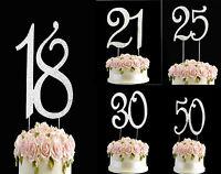Diamante Rhinestone Gem Cake Pick Birthdays Anniversary Silver Numbers Topper UK