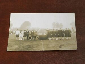 ORIGINAL REAL PHOTO FOOTBALL ADVERTISING POSTCARD - DAILY MAIL, YOUNG GIRLS.