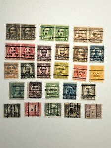 U S Collection of 28  PRECANCEL 1922-34 issue 1/2 - 50 cent from 15 states