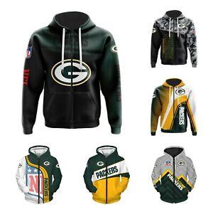 Green Bay Packers Fans Hoodie Zip Up Sweatshirt Hooded Jacket Sportwear Gift