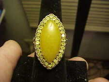 Excellent Quality Fancy Yellow Jade HSN Sterling Silver Topaz Ring  Sz7