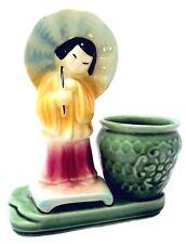 "Vintage Shawnee Pottery Planter / Pot-Asian Geisha Girl w/ Umbrella - ""USA 701"""