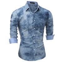 Men's Stylish Long Sleeve Casual Shirts Slim Button Down Print Dress Shirt Tops