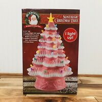 "Mr. Christmas 16"" LED Retro Nostalgic Ceramic Pink Christmas Tree Light Up New"