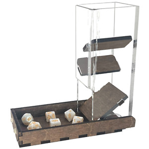 """C4Labs Short 7"""" Dice Tower and Basic Tray - Walnut"""