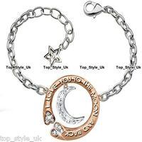 Rose Gold & Silver Bracelet Heart Moon Star Charms Engraved I Love You Tennis T1
