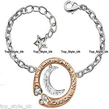 XMAS SALE GIFTS FOR HER Silver & Rose Gold I Love You bracelets Women Girls K7