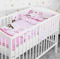 BABY 3PC BEDDING SET PILLOW DUVET BUMPER FIT COTBED 140x70cm Ballerina Pink