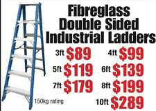 10FT FIBREGLASS DOUBLE SIDED STEP LADDERS DOUBLE SIDED 150kg LOAD RATING