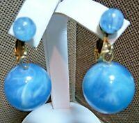 PRETTY Vintage 1960's Marked HONG KONG Swirling Blue Beaded Dangle Earrings