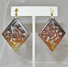 """Vintage ? 14K Gold Chinese Earrings with Carved Brown Serpentine  (12.6g, 2.4"""")"""