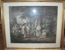 Gravure antique-G Keating après G.Morland 1788 enfants jouant à des soldats.