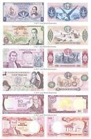 Colombia 1 + 5 + 10 + 20 + 50 + 100 Pesos Oro Set of 6 Banknotes 6 PCS UNC