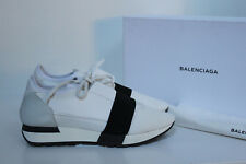 d8264a4c70a sz 10.5 / 41 Balenciaga White Leather Mixed Media Trainer Lace up Sneaker  Shoes