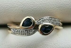 9ct Gold Sapphire And Diamond Ring Size M