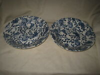 "2 Churchill BLUE PEONY Chintz 7 7/8"" Coupe Soup Salad Pasta Bowls - England"