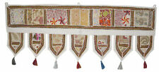 Cotton Door Hanging Embroidered Toran Window Valance Set Of 2 Pcs White Toran