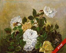YELLOW & WHITE ROSES ROSE BUSH PLANT ILLUSTRATION PAINTING ART REAL CANVAS PRINT