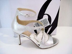 Nine West Gerbera 6 M Silver Leather Strappy Open Toes Ankle Strap Sandals New