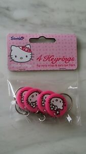 Hello Kitty Keyring Pink White Hello kitty Cat Sanrio Kawaii Cute Gift Pack of 4