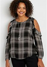 Maurices~New With Tags~ plaid top w/cold shoulders & ruffles~Plus 4-4X