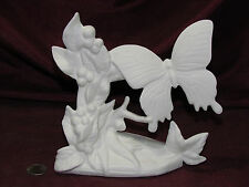 Ceramic Bisque Butterfly with Leaves & Berries on Rock Base Ready to Paint