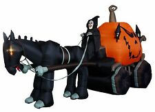 Halloween Inflatable Grim Reaper Drives Pumpkin Carriage Mustang Yard Decoration