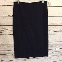 Adrienne Vittadini Womens 10 Skirt Pencil Career Work Floral Blue Black Midi C8