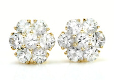 3.49 Carat Natural White Sapphire in 14K Solid Yellow Gold Stud Earrings