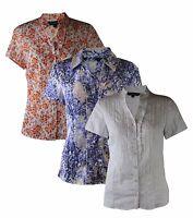 EX Stores Ladies Womens Ruffle Blouse Shirt Blouse White Floral Orange Lilac