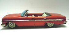 """11"""" Japan Bandai Tin Friction 1961 Chevrolet Impala Convertible Car. A+.Works."""