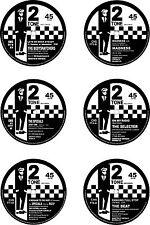 Ska 77mm Round Exterior Vinyl Decals 2Tone RudeBoy 45rpm Single Centres x 6 1st