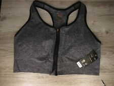 New with Tags ~ Women's Copper Fit Zip-Front Seamless Grey Sports Bra Size 2x