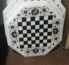 """18"""" Chess Game Marble Table Top Inlay Work Home Decor And Gift"""