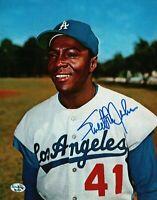 Sweet Lou Johnson Signed 8X10 Photo Autograph Dodgers Color Pose Auto w/COA