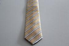 NEU Herren Krawatte Binder Schlips Seide 150 cm goldgelb weiß gestreift Karo OVP