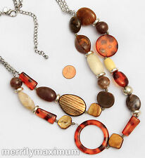 Chico's Signed Necklace Long Silver Tone Chains Chunky Tortoise & Neutral Beads