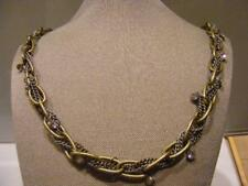 Elaborate NECKLACE Brass LINK & 3 Silver Chains Intertwined w Dangling Crystals
