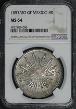 1857MO GF Mexico Silver 8 Reales NGC MS-64