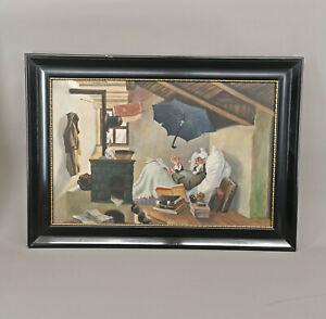 99860221 Gemälde Enigk nach Spitzweg, Der arme Poet um 1920/40 88x63cm
