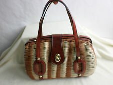 """Spilene""Vtg 60-70s Brown Woven Wicker/Leather Purse, Grreat Cond!"