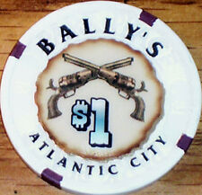 Old $1 BALLYS Casino Poker Chip Vintage Antique House Mold Atlantic City NJ