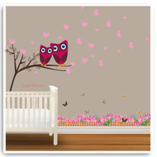Owl Wall Stickers Animal Jungle Butterfly Pink Nursery Baby Kids Room Decal Art