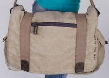 FOSSIL Extra Large Tan Canvas Leather Messenger Hobo Tote Satchel Purse Bag