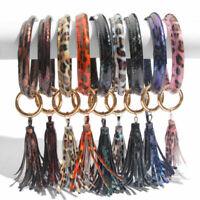 PU Leather O Circle Tassel Wristlet Keychain Southern Key Chain Ring Fob Holder