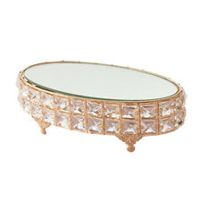 Oval Mirror-top Cake Stand Cupcake Fruit Dessert Tray for Wedding Gold