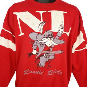 UNLV Runnin Rebels Sweatshirt Vintage 90s All Over Print Made In USA Size XL
