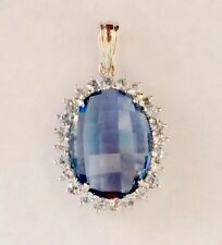 Pendant Blue Topaz Checkerboard Faceted Gemstone In Sterling Silver Frame