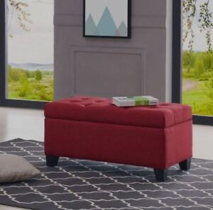 """Sarah"" Tufted Deep Storage Ottoman Bench 4 Fabrics Upholstery Linen Accent 36''"
